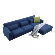 Fabric Right-facing Chaise Sectional with Pillows - Blue (BO-0689)