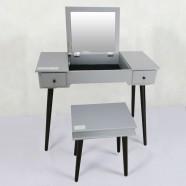 Bedroom Makeup Vanity Set with Flip-Top Mirror and Stool (JI3303)