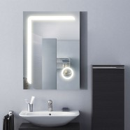 24 x 32 In. Vertical LED Bathroom Mirror with Circular Magnifier and ON/OFF Switch (DK-OD-CL810)