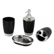 4-Piece Bathroom Accessory Set, Black (DK-ST008)