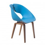 Molded Plastic Chair in Blue with Wood Legs - Set of 2 (YMG-9303B)
