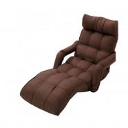 Dark Brown Soft Linen Fabric Folding Floor Sofa Recliner (K16RS01-DB)