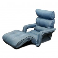 Light Blue Soft Linen Fabric Folding Floor Sofa Recliner (K16RS01-LB)