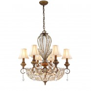 Iron & Crystal Built 12-Light Crystal Chandelier/Diameter 29 Inch with Spanish Bronze Surface and Shade (98001135-6+6)