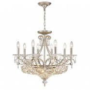 Iron & Crystal Built 14-Light Candle Chandelier/Diameter 27 Inch with Sunset Silver Surface (98000845-8+6)