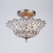Iron & Crystal Built 3-Light Semi-Flush Ceiling Light/Diameter 17 Inch with Aged Silver Surface (96001219-3)