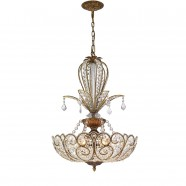 Iron & Crystal Built 6-Light Crystal Pendant Light/Diameter 20 Inch with Spanish Bronze Surface (98001135-6)