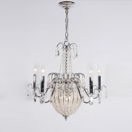 Iron & Crystal Built 8-Light Candle Chandelier/Diameter 22 Inch with Chrome Surface (98001206-5+3)