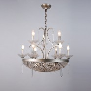 Iron & Crystal Built 12-Light Candle Chandelier/Diameter 27 Inch with Aged Silver Surface (98001278-3+6+3)
