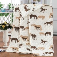 Brown Cartoon Horse Quilt Set with One Sham, Twin (DK-WX020)