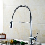 Chrome Finished Brass Spring Kitchen Faucet - Pull Out Spray Head (82H10-CHR)