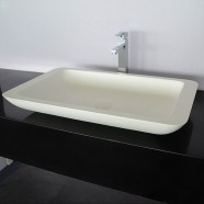 White Rectangular Artificial Stone Above Counter Bathroom Vessel Sink (DK-HB9013)