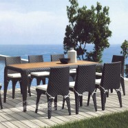 9 Pieces Dining Set: Dining Table, 8 Armless Chairs (JMS-6173A)