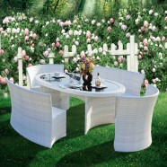 5 Pieces Dining Set: Dining Table, 2 Armless Chairs,2 Armless Long Chairs(JMS-7061)