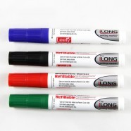 Refillable Whiteboard Marker, Bullet Point, Assorted Colors, 12/pack (DK-PMW208)
