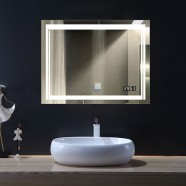28 x 36 In Horizontal LED Bathroom Mirror with Anti-fog and Clock Function (DK-OD-CK150-C)