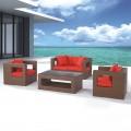 4-Piece PE Rattan Sofa Set: Loveseat, 2 Lounge Chairs, Coffee Table (LLS-220)