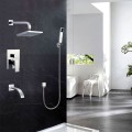 Bathroom Single Handle Tub and Shower Faucet with Hand Shower - Brass with Chrome Finish (86H15-CHR-SC)