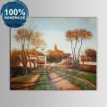 100% Hand Painted Village Landscape Oil Painting on Canvas (DK-JX-YH041)