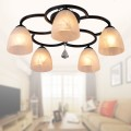 5-Light Black Wrought Iron Chandelier with Glass Shades (DK-820-5)