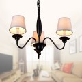 3-Light Black Wrought Iron Chandelier with Cloth Shades (DK-7057-3)