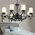 8-Light Black Wrought Iron Chandelier with Glass Shades (DK-8020-8)