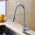 Chrome Finished Brass Kitchen Faucet - Pull Out Spray Head (82H14-CHR)