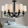6-Light Black Wrought Iron Chandelier with Cloth Shades (DK-2017-6)