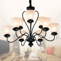9-Light Black Wrought Iron Chandelier with Glass Shades (DK-2039-6+3)