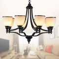 8-Light Black Wrought Iron Chandelier with Glass Shades (DK-5308-8S)