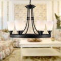 6-Light Black Wrought Iron Chandelier with Glass Shades (DK-8023-6)