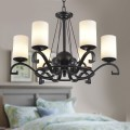 6-Light Black Wrought Iron Chandelier with Glass Shades (DK-8020-6)