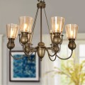 6-Light Copper Iron Modern Chandelier with Glass Shades (HKP31252-6)