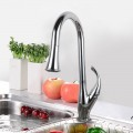 Chrome Finished Brass Kitchen Faucet - Pull Out Spray Head (D010CH)