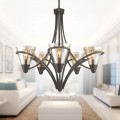 5-Light Iron Chandelier with Glass Shade (HKP704-5)