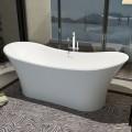 69 In Double Slipper Man-made Stone Freestanding Bathtub - Matte White (DK-HA8614)