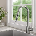 Brushed Finished Brass Kitchen Faucet - Pull Out Spray Head (82H13-BN-A)