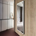 DECORAPORT 70 x 28 Inch LED Full-Length Dress Mirror with Touch Button, Black Frame, Dimmable, Cold&Warm Lights (DJ2-7028-B)