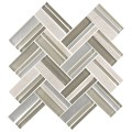 12.4 in. x 13.8 in. Glass and Stone Blend Strip Mosaic Tile - 8mm Thickness (DK-8NF0606-002)