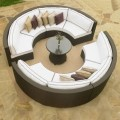 9-Piece PE Rattan Sofa Set: 8 Curved Armless Sofas, Coffee Table (LLS-356)