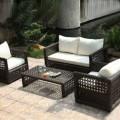 4-Piece PE  Rattan Sofa Set: Loveseat, 2 Lounge Chairs, Coffee Table (LLS-358)