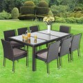 PE Rattan 9 Pieces Dining Set: Dining Table, 8 Armless Chairs. (LLS-6058+1058)