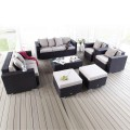 7- Piece PE Rattan Sofa Set: 2 Lounge Chairs, Loveseat, Three-seater Sofa, Coffee Table, 2 Ottomans (LLS-231)