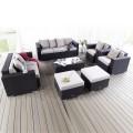 7- Piece PE Rattan Sofa Set: 2 Lounge Chairs, Loveseat, Three-seater Sofa, Coffee Table, 2 Ottomans (LLS-231)