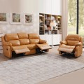 2 - Piece Dark Beige Manual Recliner Sectional Sofa Set with 4 Seats in Leather (LH-EA36-1)