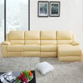 Beige Manual Recliner Sectional Sofa in Genuine Leather with Cup Holder Console and Right-facing Chaise (LH-188-1)