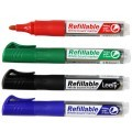 Refillable Whiteboard Marker, Bullet Point, Assorted Colors, 12/pack (DK-PMW201B)