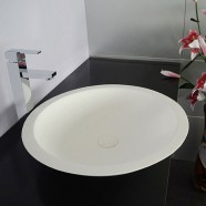 White Round Artificial Stone Above Counter Bathroom Vessel Sink (DK-HB9004)