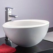 White Round Artificial Stone Above Counter Bathroom Vessel Sink (DK-HB9048)
