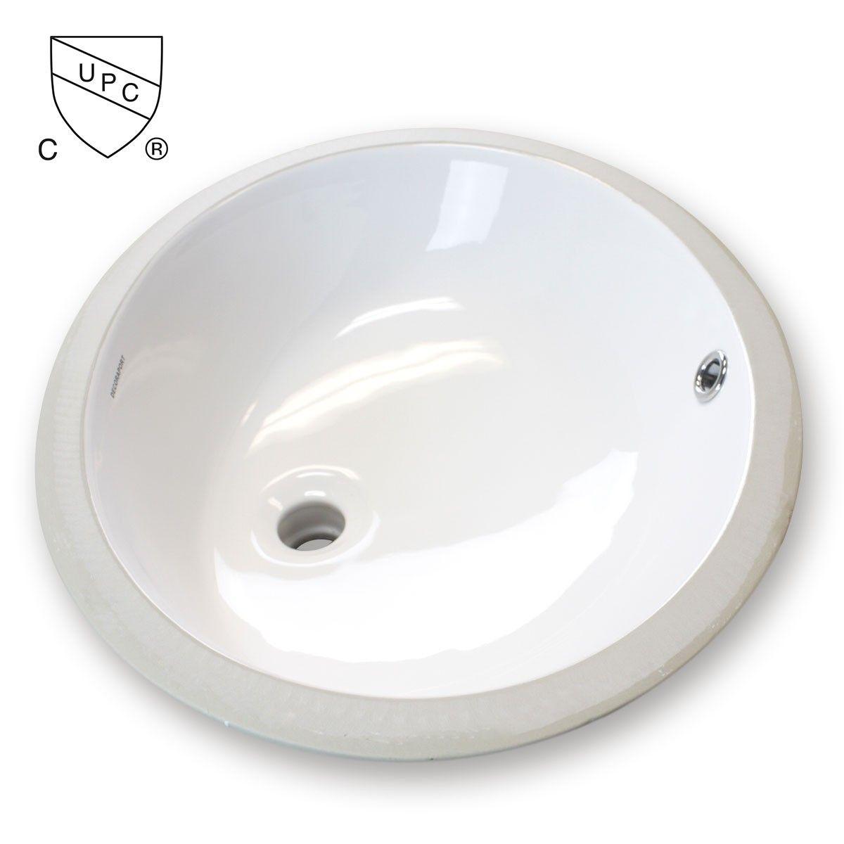 Decoraport Lavabo-Vasque Ovale de Dessous de Comptoir en Céramique Blanche (MY-3706)